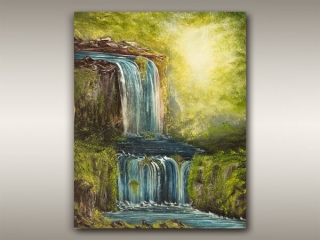 Vancouver Island painting of waterfalls by Robbie Stroud Artist in Nanaimo, B.C.