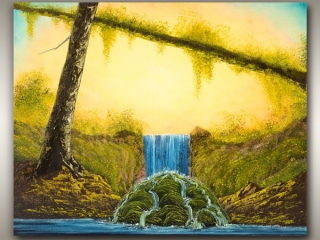 Vancouver Island painting of trees and waterfall, by Vancouver Island Artist Robbie Stroud Art in Nanaimo, B.C.