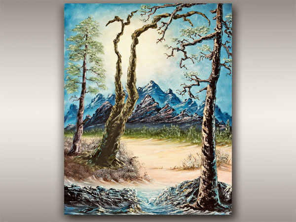 Vancouver Island Oil Landscape painting of mountain and trees,by Robbie Stroud Art in Nanaimo, B.C.