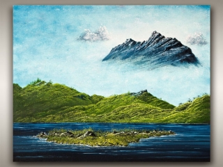 Oil landscape painting of Vancouver Island lake and mountains by Robb Art Boutique, Nanaimo artist