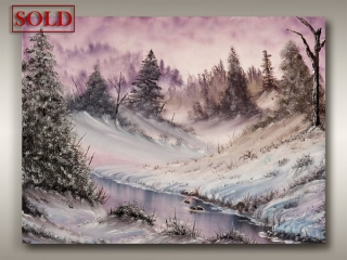 winter landscape with snow and river, Vancouver Island artist Robbie Stroud