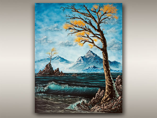 Vancouver Island Painting of autumn trees and ocean, Robb Art Boutique, Nanaimo B.C.