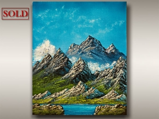 Vancouver Island Oil Landscape painting of lakes and mountains by Robbie Stroud Art in Nanaimo, B.C.