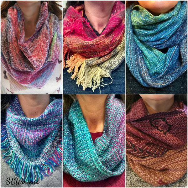 Variety of Canadian hand woven scarves, made on Vancouver Island in Nanaimo, B.C.
