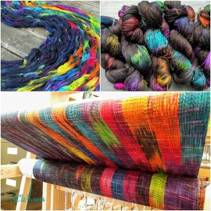 loom with colorful hand dyed yarn, made in Nanaimo, Vancouver Island, Canada