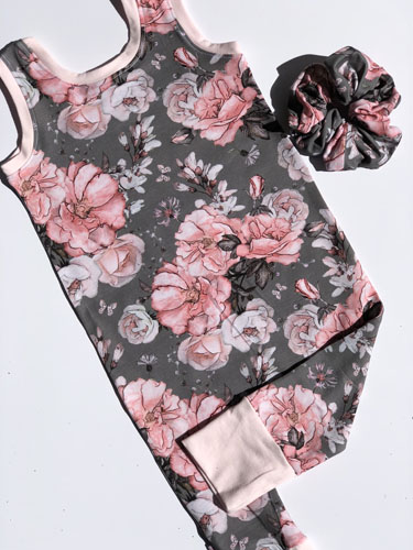 Flower pattern grow along Romper, handmade in Sooke, B.C., on Vancouver Island by Sugar Sandwich