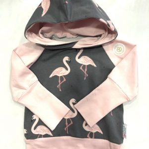 Children's grow along hoodie, pink and grey with flamingos, handmade in Sooke, B.C., on Vancouver Island