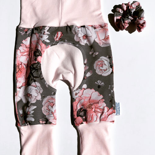 Baby or Toddler grow along pants and scrunchie, flower pattern, handmade in Sooke, B.C., on Vancouver Island