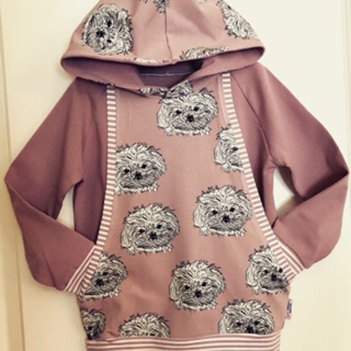 Pink grow along hoodie for toddler or child with dogs, handmade in Sooke, B.C., on Vancouver Island