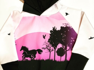 Grow along hoodie for kids, pink sunset with horses, handmade in Sooke, B.C., on Vancouver Island