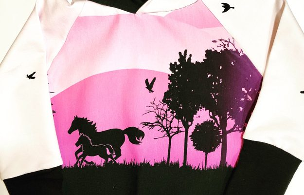 Grow along children's hoodie, pink with horses, handmade on Vancouver Island in Sooke, B.C.