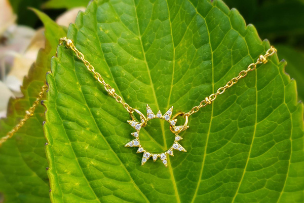sun necklace jewelry designed on Vancouver Island by Sunday Jewelry
