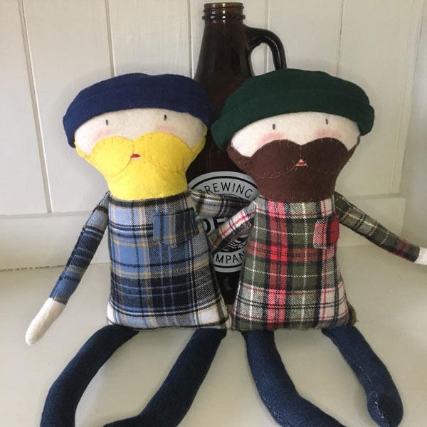 Hipster / lumberjack stuffies with plaid shirts and beards, handmade by Sweet Peas Kids