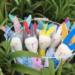 Basket of bunny rattles, handmade on Vancouver Island by Sweet Peas