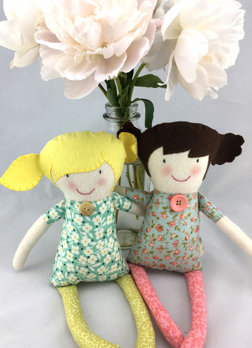 Two ragdolls, handmade on Vancouver Island by Sweet Peas
