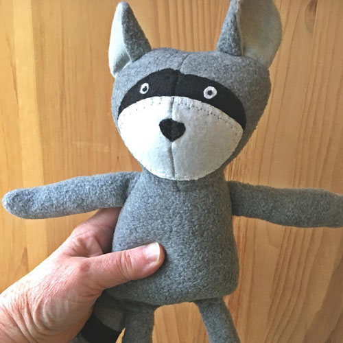 Racoon stuffy, handmade on Vancouver Island by Sweet Peas
