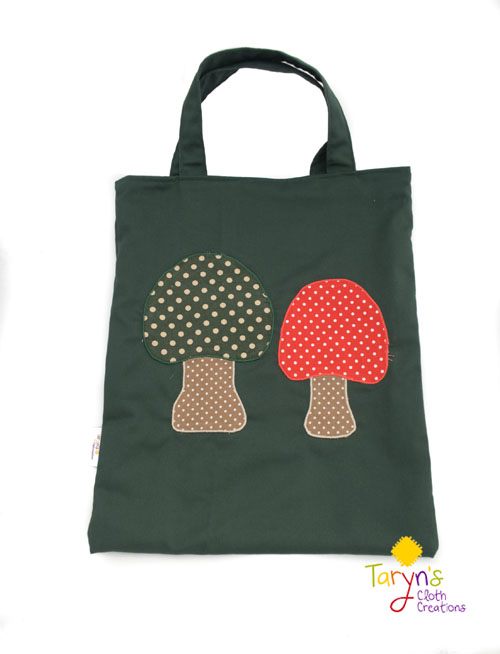 Reusable cloth bag with mushrooms on front,product handmade on Vancouver Island by Taryn's Cloth Creations