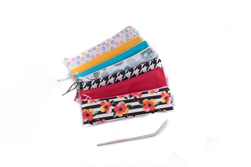Reusable straw bags, product handmade on Vancouver Island by Taryn's Cloth Creations