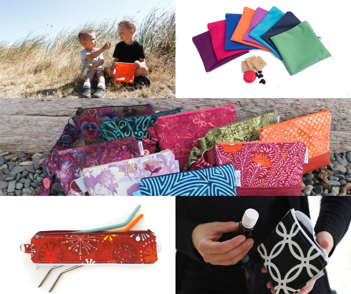 reusable Snack bags, dual sized straw bags, essential oil cases, Christmas gift ideas made on Vancouver Island