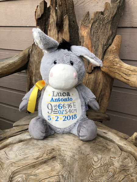 Personalized stuffy with baby's name, birth date, and birth weight, hand embroidered on Vancouver Island