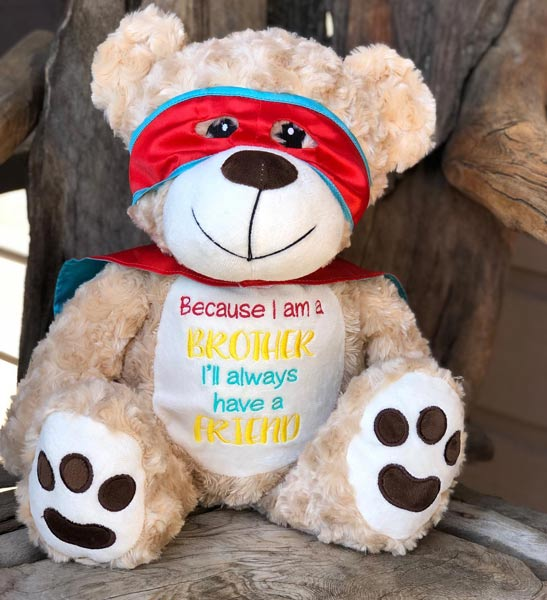 Custom embroidered super hero teddy bear for new brother, made by Threading the Love on Vancouver Island