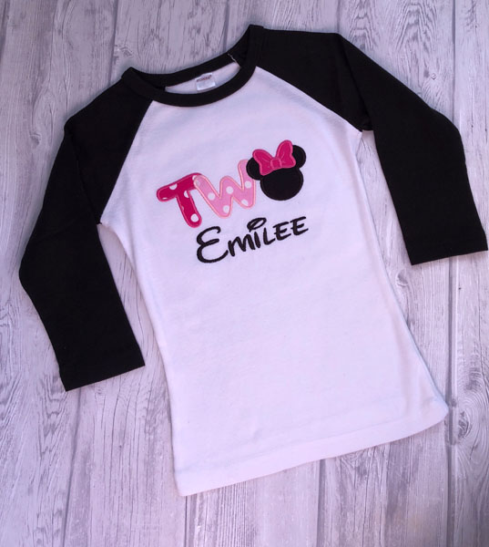 Custom 2 year old shirt with Mickey Mouse and name, made on Vancouver Island by Threading the Love