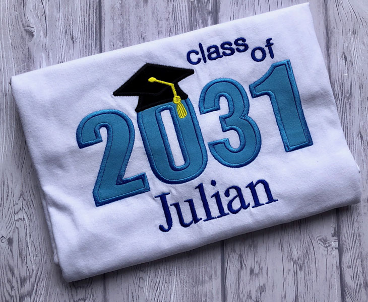 Custom graduation year clothing, Class of 2031, made on Vancouver Island