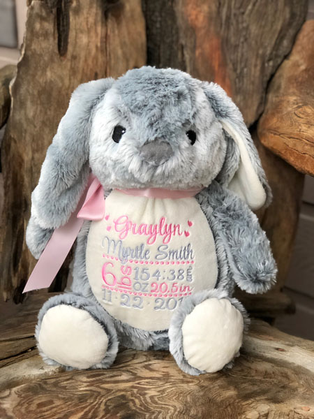 Bunny embroidered with baby's name and birth information, made on Vancouver Island by Threading the Love