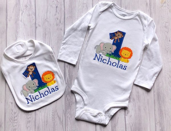Custom Embroidered 1 year old bib and onesie with lion, monkey, and elephant