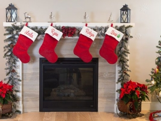 personalized stockings by fireplace, handmade on Vancouver Island by Threading the Love