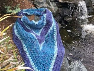 crocheted scarf blue and purple, product made by Vancouver Island knitter Through the Loop