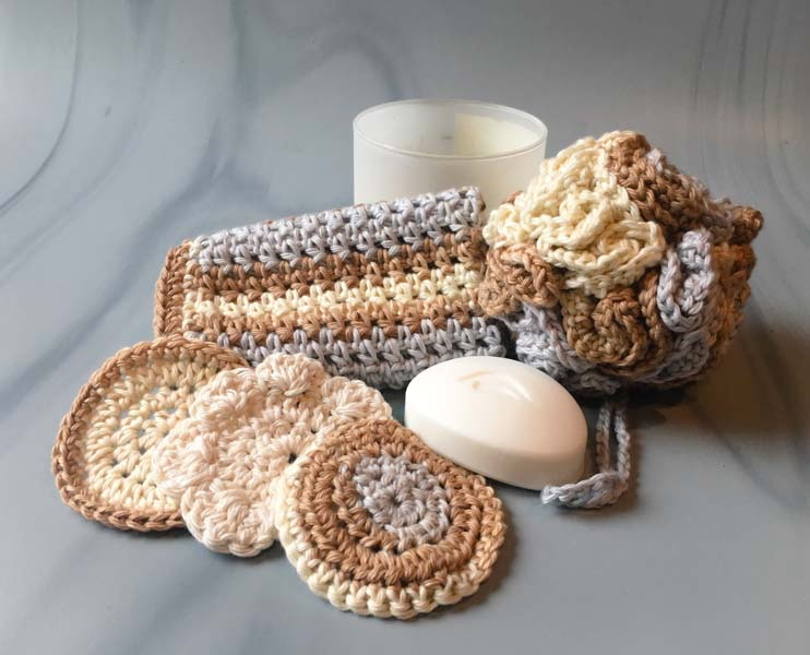 cotton crocheted loafa, cloth, and face clothes, product made by Vancouver Island knitter Through the Loop