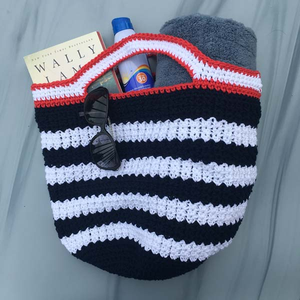 crocheted reusable market/beach bag with black and white stripes, product made by Vancouver Island knitter Through the Loop