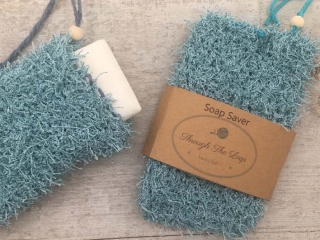 exfoliating soap saver, product made by Vancouver Island knitter Through the Loop