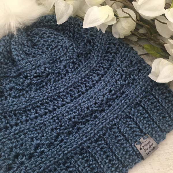 hand knitted blue touque, made by Vancouver Island knitter Through the Loop