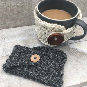 reusable coffee cup or beer cozies, crocheted product made by Vancouver Island knitter Through the Loop