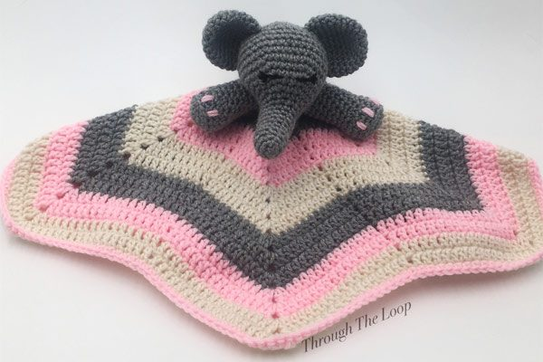 knitted elephant snuggly, made on Vancouver Island by Through the Loop