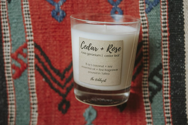cedar and rose all natural candle made in Tofino B.C. on Vancouver Island