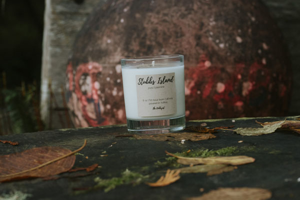 Vancouver Island made all natural Candle called Stubbs Island