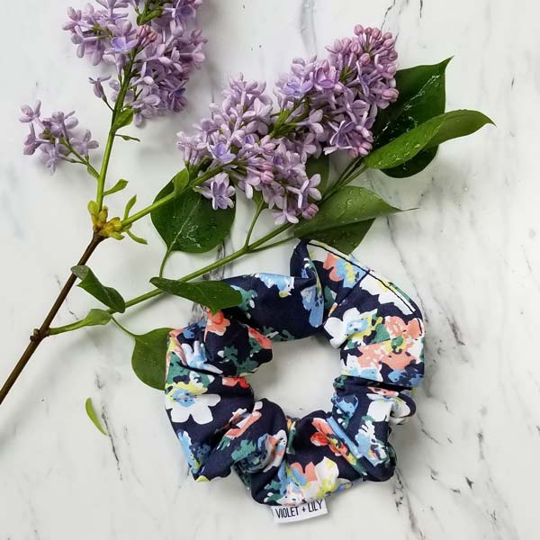Floral scrunchie handmade on Vancouver Island by Violet + Lily
