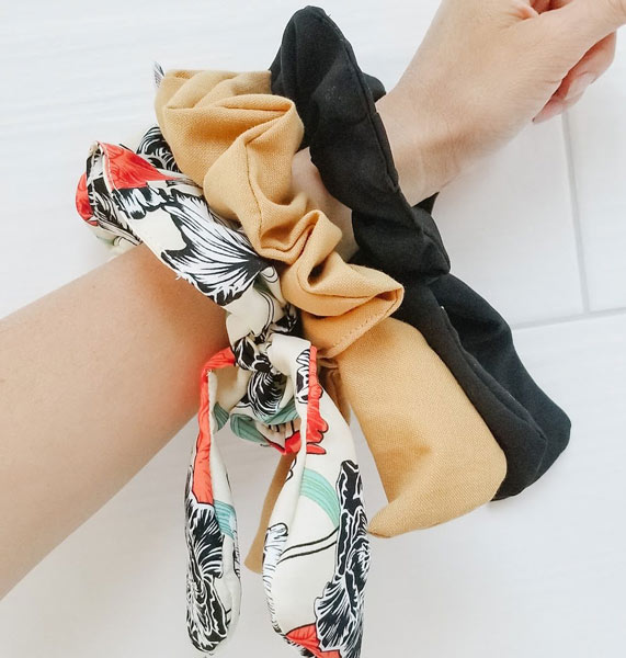 handcrafted bow scrunchy made in Parksville on Vancouver Island by Violet + Lily stocking stuffer ideas made on Vancouver Island