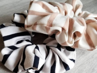 Black and pink high quality scrunchies, locally made in Parksville, BC by Violet and Lily