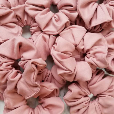 Pink handmade high quality scrunchies, handmade on in Parksville, Vancouver Island by Violet + Lily
