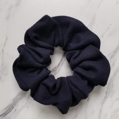 Blue handmade high quality scrunchies, handmade on in Parksville, Vancouver Island by Violet + Lily