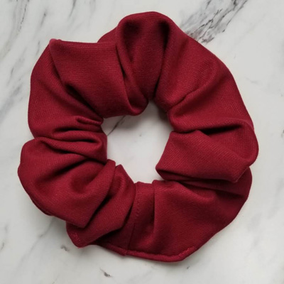 Red handmade high quality scrunchies, handmade on in Parksville, Vancouver Island by Violet + Lily