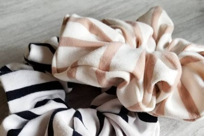 Pink and black high quality handmade scrunchies, Vancouver Island local products, Violet + Lily