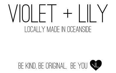 Violet + Lily logo, scrunchies handmade in Parksville Vancouver Island