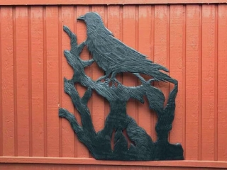 Black wooden raven carving, product made in Nanaimo BC on Vancouver Island
