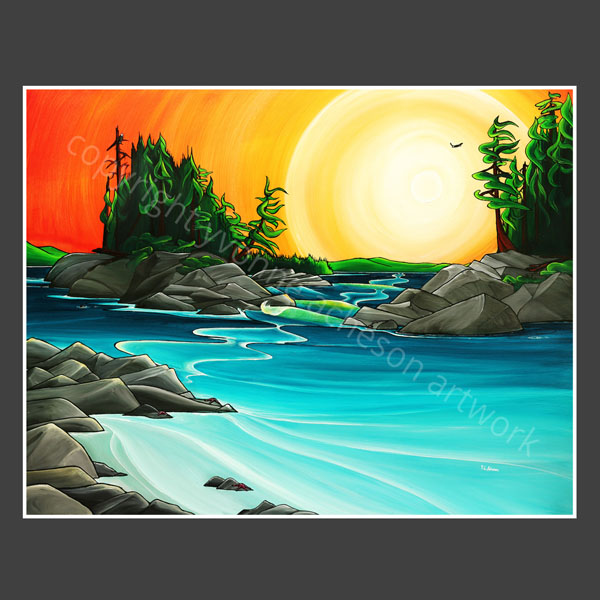 Crystal Cove painting by Yvonne Acheson, Parksville, Vancouver Island artist