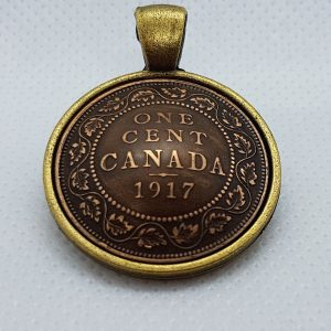 1917 Canadian one cent pendant, product handmade in Nanoose Bay, B.C., Canada, on Vancouver Island by A Welcome Change